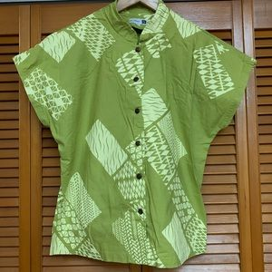 Green Sig Zane Short Sleeve Blouse